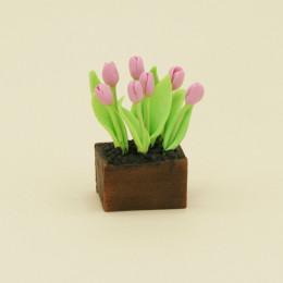 Тюльпаны для кукол в ящике розовые
