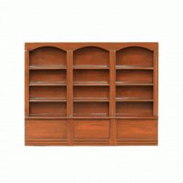 Книжный шкаф для кукольного домика три секции орех