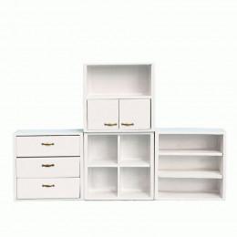 Модульный шкаф для кукольного домика Ирис белый