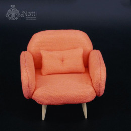 Кресло для кукольного домика Жожоба коралловое