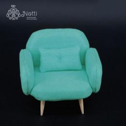Кресло для кукольного домика Жожоба изумрудное