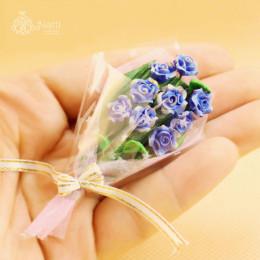 Букет цветов для кукол Мильтония синий