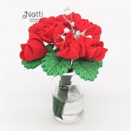 Цветы в вазе для кукольного домика Серисса красные