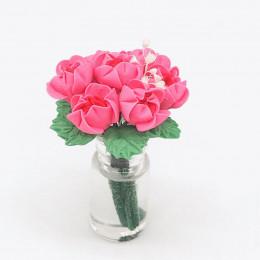 Цветы в вазе для кукольного домика Серисса розовые