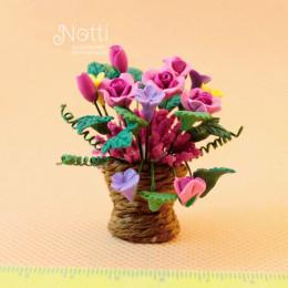 Цветы в горшке для кукольного домика Шемали