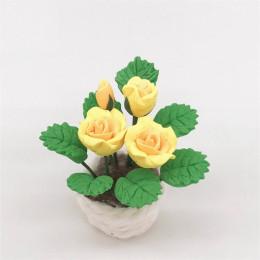 Цветы в горшке для кукольного домика Ромулея желтые