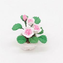 Цветы в горшке для кукольного домика Ромулея розовые