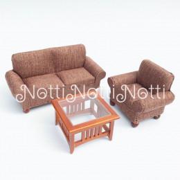 Диван, кресло и журнальный столик для кукольного домика Женьшень