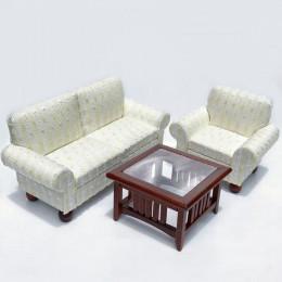 Диван, кресло и журнальный столик для кукольного домика Дымянка