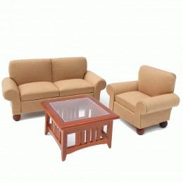 Диван, кресло и журнальный столик для кукольного домика Колломия