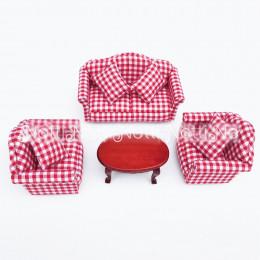 Диван, кресла и журнальный столик для кукольного домика Иглица