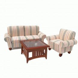 Диван, кресло и журнальный столик для кукольного домика Кордия