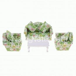 Диван, кресла и журнальный столик для кукольного домика Кислица