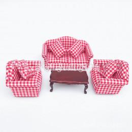 Диван, кресла и журнальный столик для кукольного домика Вирола