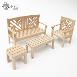 Набор деревянной мебели для кукольного домика Кипарис