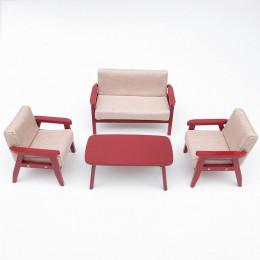 Диван, кресла и журнальный столик для кукольного домика Камыш бежевые
