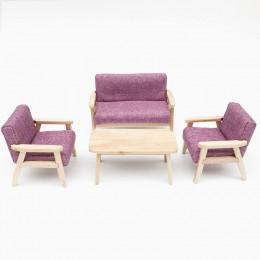Диван, кресла и журнальный столик для кукольного домика Камыш малиновые