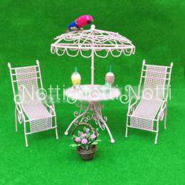 Столик и шезлонги для кукол Навия розовые