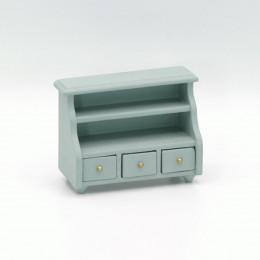 Шкафчик для ванной и кухни в кукольный домик васильковая бирюза