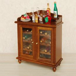 Винный шкаф для кукольного домика орех