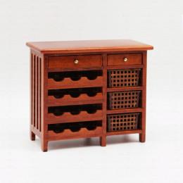 Винный шкаф для кукольного домика с тремя корзинами орех