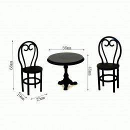 Стол и стулья для кукол Осло черные