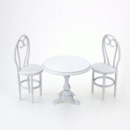 Стол и стулья для кукол Осло белые