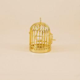 Клетка с птичкой для кукол золотистая