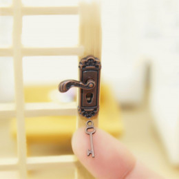 Дверной замок для кукольного домика Бронза на левую сторону