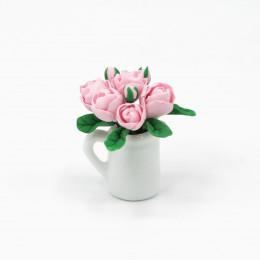 Цветы для кукольного домика Пионы розовые в белом кувшине