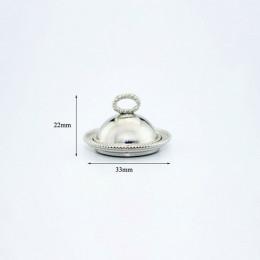 Блюдо с крышкой для кукол Сантана серебристое