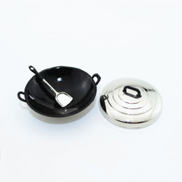 Большая сковорода для плова с лопаткой для кукол блестящей крышкой