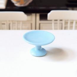 Блюдо на ножке для кукол голубое