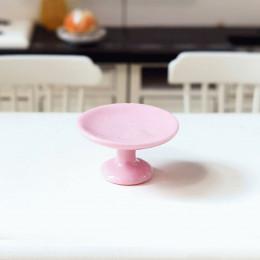 Блюдо на ножке для кукол розовое