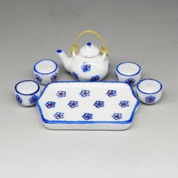 Чайный сервиз для кукол Илария белый с цветами