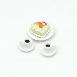 Торт на блюде с кофейными чашками для кукол  Магре