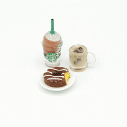 Набор для кукол напитки и пончик на блюдце
