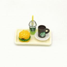 Набор для кукол напиток киви, кофе и бургер на подносе