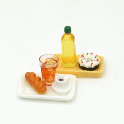 Набор для кукол масло, пончик, напиток, хлеб, кофе на лотках
