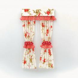 Комплект шторы и тюль для кукольного домика с красной оборкой
