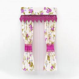 Комплект шторы и тюль для кукольного домика с лиловой оборкой