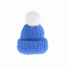 Шапка для кукол с помпоном голубая