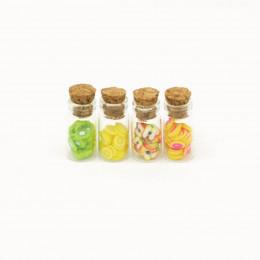 Набор баночек с мармеладом для кукол 4 шт. киви, лимон, яблоко, грейпфрут